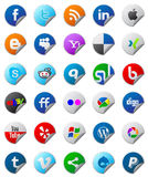 Social media buttons set. Set of stickers with social media buttons Royalty Free Illustration