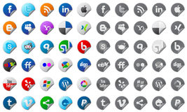 Social media buttons set. Set of stickers with social media buttons Stock Images