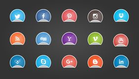 Social Media Buttons on Sticker Shape. Popular Social Media Buttons on Sticker Shape Collection Vector Illustration