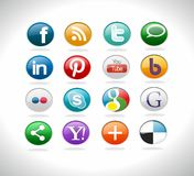 Social media buttons. For website Vector Illustration