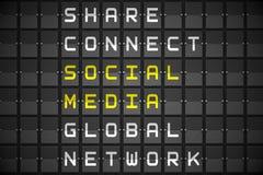 Social media buzzwords on black mechanical board Stock Image