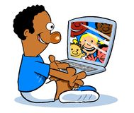 Social media cartoon. Cartoon caricature of young boy using social media on laptop with friends Royalty Free Stock Photo