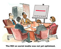 Social Media. The cartoon shows a team in a meeting room looking at a chart with a straight red line and the statement that the ROI on social media is not yet Stock Photos
