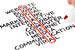 Social Media Chart. Social Media highlighted with red marker in a handwritten chart Stock Image