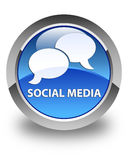 Social media (chat bubble icon) glossy blue round button Royalty Free Stock Photography