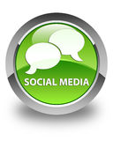 Social media (chat bubble icon) glossy green round button Royalty Free Stock Image