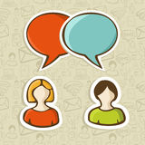 Social media chat icons set vector illustration