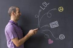 Social Media-Chat mit Ikonen und E-Mail-Symbolen Lizenzfreies Stockfoto