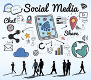 Social Media Chat Share Global Communication Concept Stock Images
