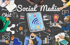 Social Media Chat Share Global Communication Concept Stock Image
