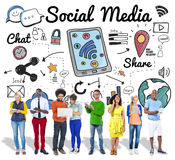 Social Media Chat Share Global Communication Concept Royalty Free Stock Photos