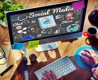 Social Media Chat Share Global Communication Concept Royalty Free Stock Image