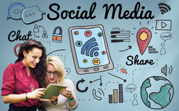 Social Media Chat Share Global Communication Concept Stock Photos