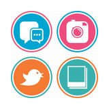 Social media. Chat speech bubble. Photo frames. Royalty Free Stock Images