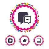 Social media. Chat speech bubble. Photo frames. Stock Images