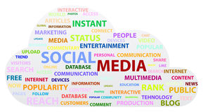 Social Media Cloud. Social Media Word Cloud On White Background Stock Photo