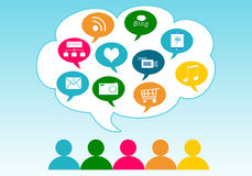 Social Media in the cloud Stock Photo