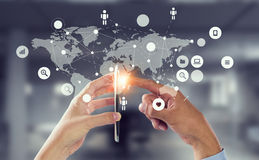 Social media and cloud computing . Mixed media Royalty Free Stock Photos