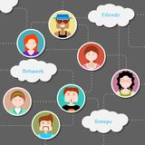 Social Media Cloud Computing Network. Illustration of social media cloud computing network with people connected in flat style Royalty Free Stock Image