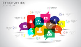 Social Media and Cloud concept Infographic background Royalty Free Stock Images