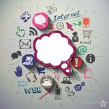 Social media collage with icons background Royalty Free Stock Images