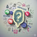 Social media collage with icons background. Vector illustration Royalty Free Stock Photo