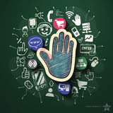 Social media collage with icons on blackboard Royalty Free Stock Images