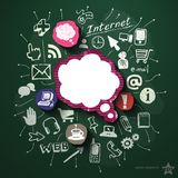 Social media collage with icons on blackboard Royalty Free Stock Image