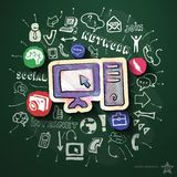 Social media collage with icons on blackboard Royalty Free Stock Photos