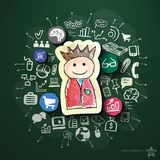 Social media collage with icons on blackboard. Vector illustration Stock Photo