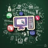 Social Media-Collage mit Ikonen auf Tafel Lizenzfreie Stockfotos