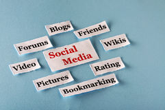 Social Media collage. Social Media  Word Cloud  printed on  paper on blue font Stock Photography