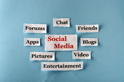 Social Media collage. Social Media  Word Cloud  printed on  paper on blue font Stock Photos