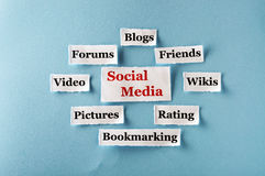 Social Media collage. Social Media  Word Cloud  printed on  paper on blue font Royalty Free Stock Image