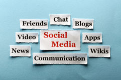 Social Media collage. Social Media  Word Cloud  printed on  paper on blue font Royalty Free Stock Images