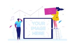 Social media - colorful flat design style illustration. On white background. A composition with a boy and girl holding video symbol, diagram, musical notes. A stock illustration