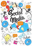 Social Media Communication Concept Internet Network Connection People Doodle Royalty Free Stock Photography