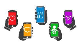Social media communication concept, mobile applications, set hands raising smartphone – vector. Social media communication concept, mobile applications vector illustration