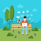 Social media communication flat vector technology infographics Stock Photos