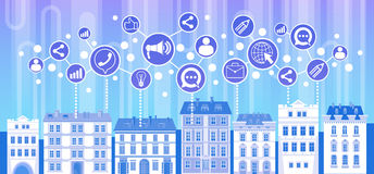 Social Media Communication Internet Network Connection Icons City Skyscraper View Cityscape Background. Vector Illustration Royalty Free Stock Image