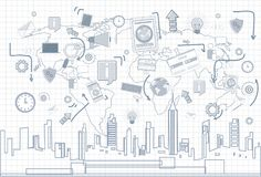 Social Media Communication Internet Network Connection Over City Skyscraper View Cityscape Squared Background. Vector Illustration Stock Image