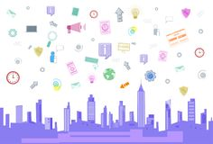 Social Media Communication Internet Network Connection Over City Skyscraper View Cityscape Squared Background. Vector Illustration Royalty Free Stock Photography