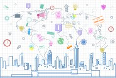 Social Media Communication Internet Network Connection Over City Skyscraper View Cityscape And World Map Squared. Background Vector Illustration Stock Images