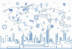 Social Media Communication Internet Network Connection Over City Skyscraper View Cityscape And World Map Squared. Background Vector Illustration Royalty Free Stock Image