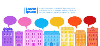 Social Media Communication Network Connection Colorful City Houses With Chat Bubble. Social Media Communication Internet Network Connection Icons City Skyscraper Royalty Free Stock Photography