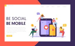 Social Media Communication Technology Characters Landing Page Templpate. Group of Flat People Chat in Mobile and Tablet. Screen Concept for Website or Web Page vector illustration