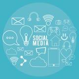 Social media communication technology digital poster blue background Royalty Free Stock Image