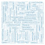 Social Media Communication word cloud. Wordcloud made with text only vector illustration