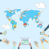 Social Media Communication World Map Concept Internet Network Connection People Royalty Free Stock Photo