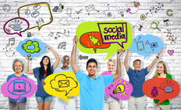 Social Media Communications Group of People.  Royalty Free Stock Photo